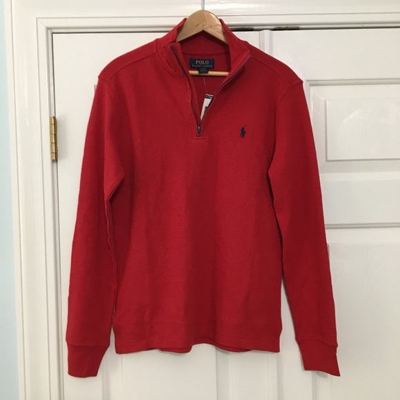 ralph lauren green sweater blue red and white polo shirt